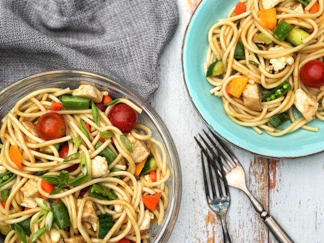 Thai Chicken and Vegetable Pasta Salad