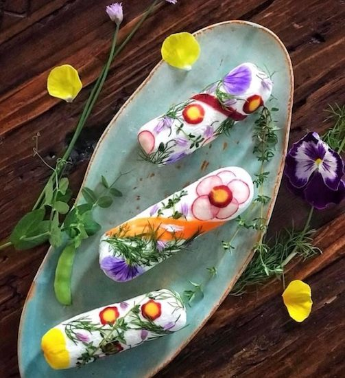 The Prettiest Flower and Vegetable Cheese Logs